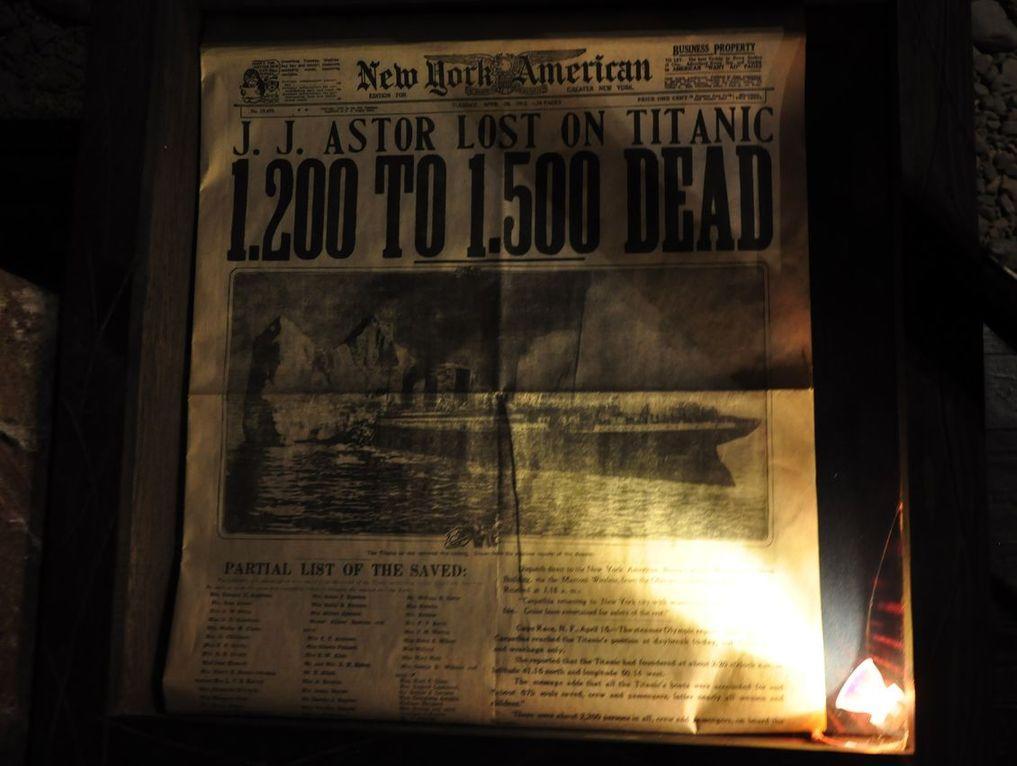 Выдержка из газеты, где сообщается о крушении Титаника. Музей катастроф на водах