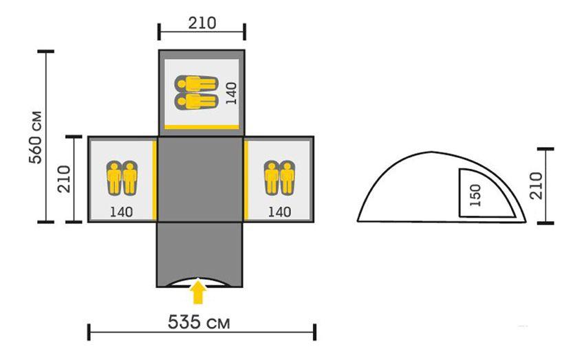 Размеры палатки Талберг Дельта 6